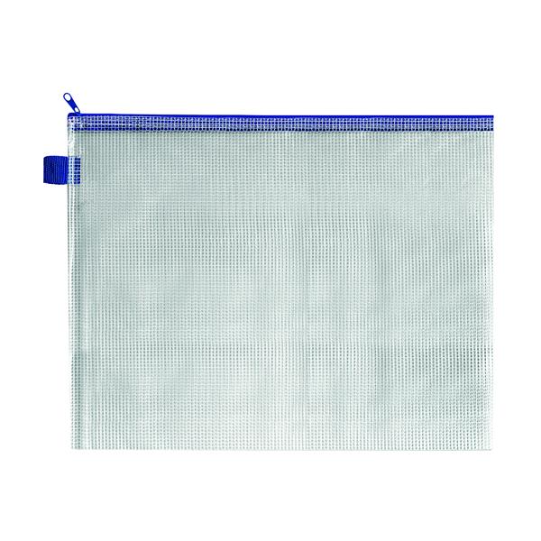 Image for BDS Mesh Zip Bag 360x275mm Blue (Pack of 5) ZIPPER BLUE