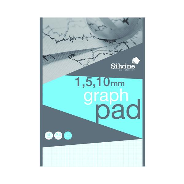 Silvine Graph Pad 1/5/10mm 50 Sheets A4 A4GP1510