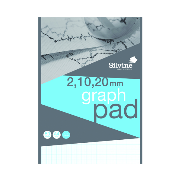 Silvine Graph Pad 2/10/20mm 50 Sheets A4 A4GP21020