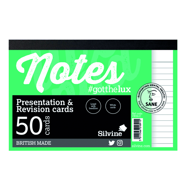 Silvine Revision Presentation and Note Cards White CR50-C