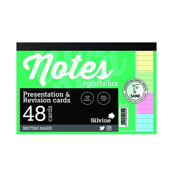 Silvine Revision Presentation/Note Card Assorted (Pack of 20) CR50AC-C