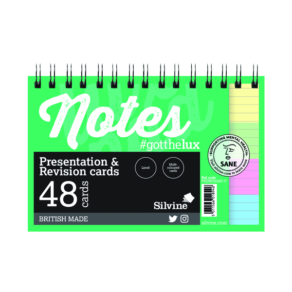Silvine Revision Presentation and Note Cards Twin Assorted PADRC64AC-C
