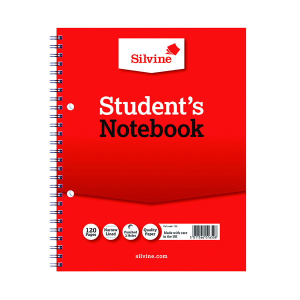 Silvine Ruled Student Notebook 229x178mm 120 Pages (Pack of 12) 139