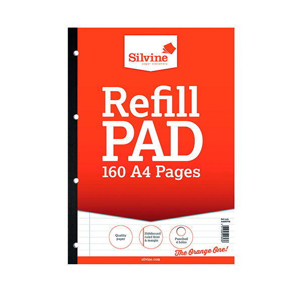 Silvine Ruled Sidebound Refill Pad A4 160 Pages (Pack of 6) A4SRPFM