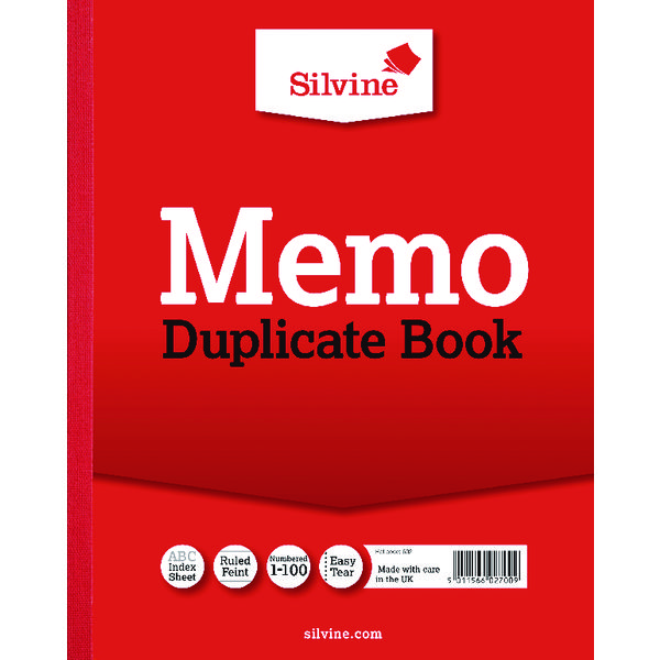 Image for Silvine Duplicate Memo Book 254x203mm (Pack of 6) 602-T