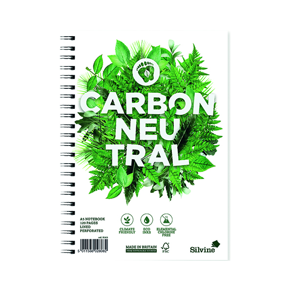 Silvine Carbon Neutral Ruled Notebook A5 120 Pages (Pack of 5) R303