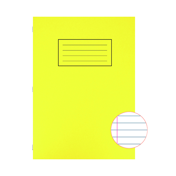 Silvine Exercise Book Ruled with Margin A4 Yellow (Pack of 10) EX109