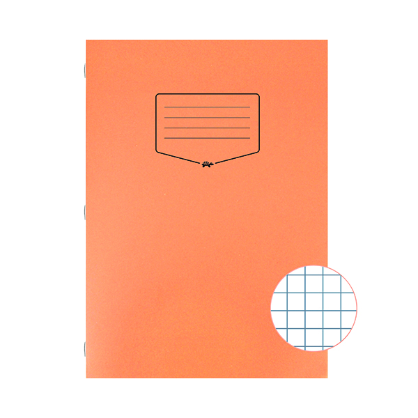 Silvine Tough Shell Exercise Book Squares A4 Orange (Pack of 25) EX145