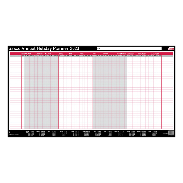 Sasco Annual Holiday Planner Unmounted 2020 2410116