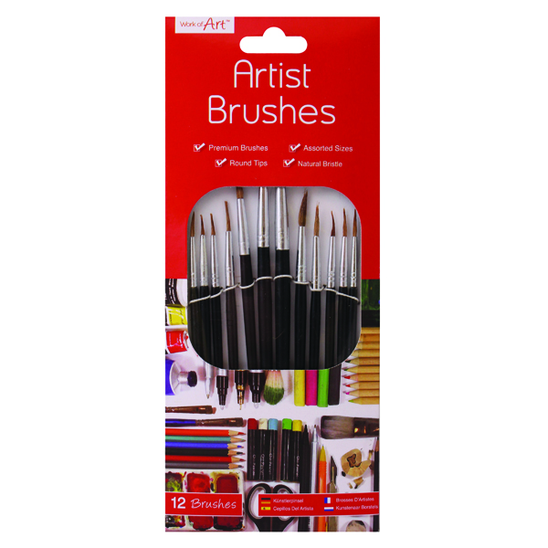 Work of Art Natural Bristle Artist Brushes Flat Tip Black (Pack of 12) TAL06717