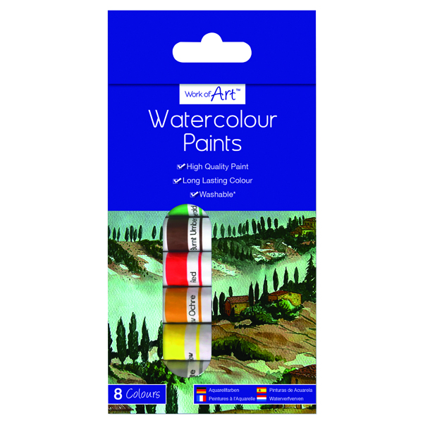 Work of Art Washable Watercolour Paint Tubes Assorted (Pack of 12)