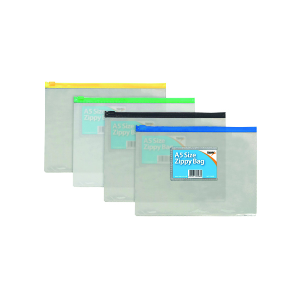 Image for Sundry Clear Plastic A5 Coloured Zip Bags (Pack of 12) 300480