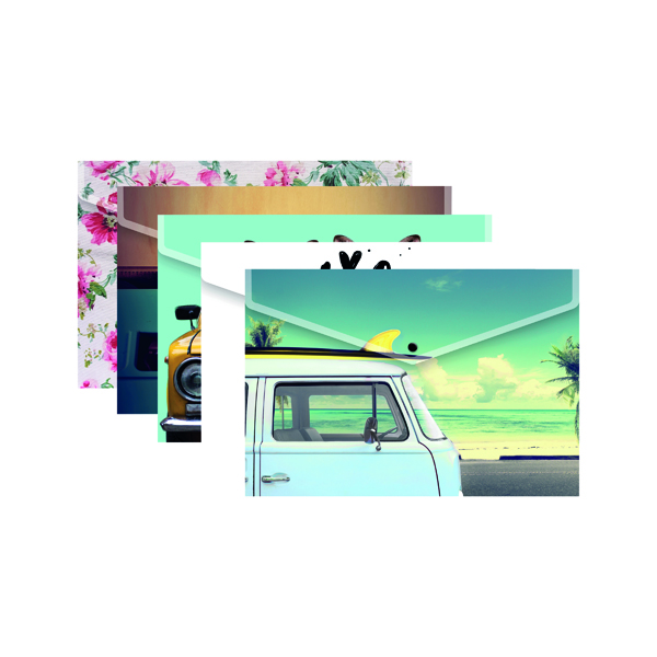 Image for A4 Plus Fashion Press Stud Wallets In Assorted Colours (Pack of 25) 301647