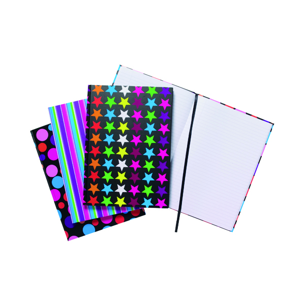 Image for A4 Fashion Assorted Feint Ruled Casebound Notebooks (Pack of 5) 301650