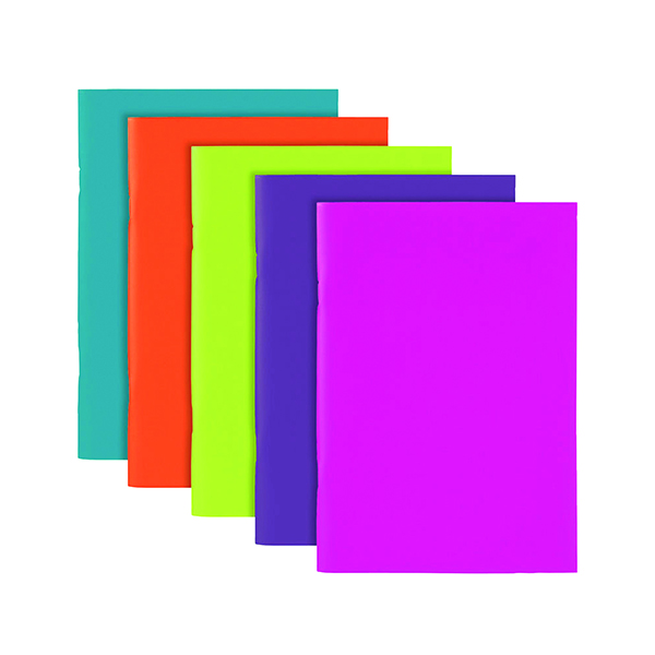Polypropylene Covered Notebooks A5 40 Sheets Assorted  (Pack of 10) 301746