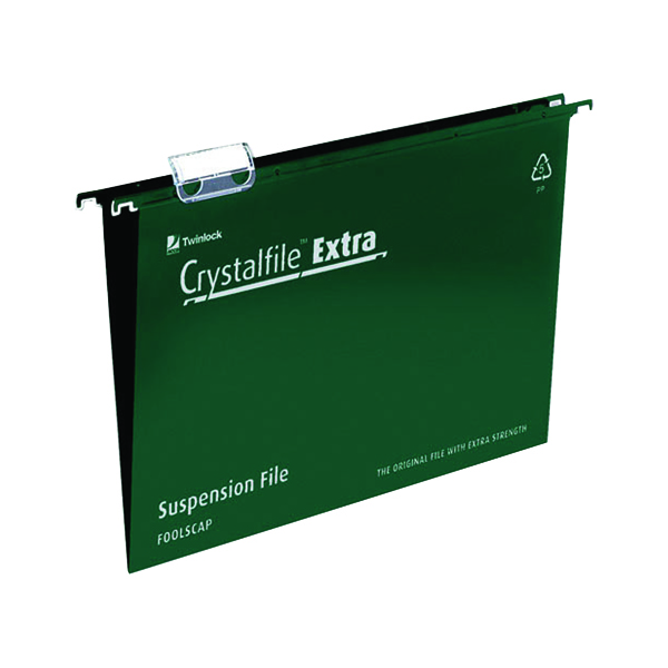 Rexel Crystalfile Extra 15mm Suspension File Green (Pack of 25) 70628