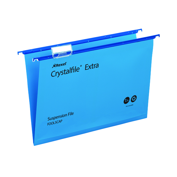 Rexel Crystalfile Extra 15mm Suspension File Blue (Pack of 25) 70630