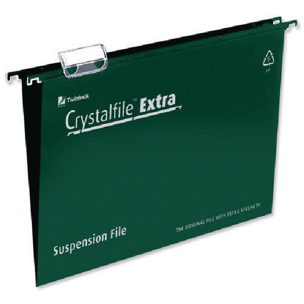 Rexel Crystalfile Extra 15mm Suspension File A4 Green (Pack of 25) 70634