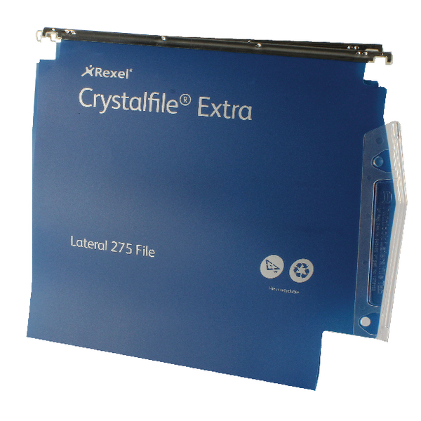 Rexel Crystalfile Extra 30mm Lateral File Blue (Pack of 25) 70642