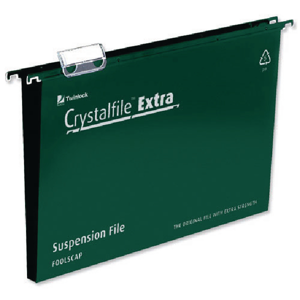 Rexel CrystalFile Extra 30mm Suspension File A4 Green (Pack of 25) 71759