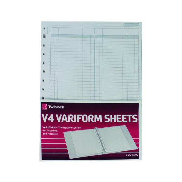Rexel Variform V4 F1 Double Ledger Refill (Pack of 75) 75951