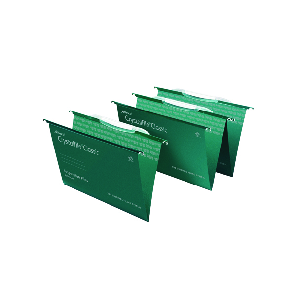 Rexel Crystalfile Classic SuspensionFile Foolscap Green (Pack of 50) 78046