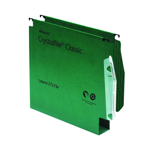 Rexel CrystalFile Classic 30mm Lateral File Green (Pack of 50) 78654