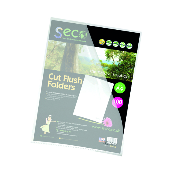 Stewart Superior Eco Cut Flush Folder Clear (Pack of 100) LSF-CL