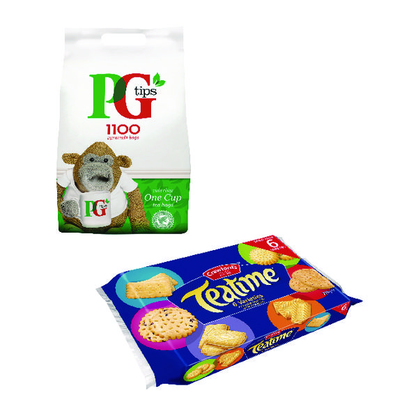 PG One Cup Pyramid Tea Bags (Pack of 1100) Plus Free Biscuits
