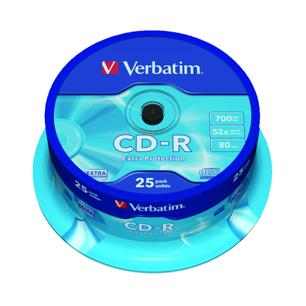 Verbatim CD-R Datalife Non-AZO 52x 700MB (Pack of 25) 43432