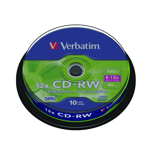 Image for Verbatim CD-RW Datalife Plus 8-12x 700MB (Pack of 10) 43480