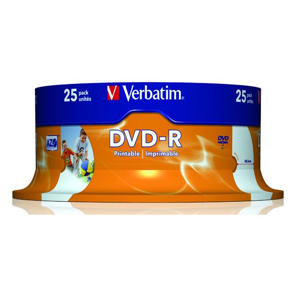 Verbatim DVD-R Spindle 16x 4.7GB (Pack of 25) 43489