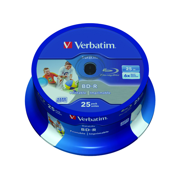Image for Verbatim BD-R Printable Spindle 6x 25GB (Pack of 25) 43811
