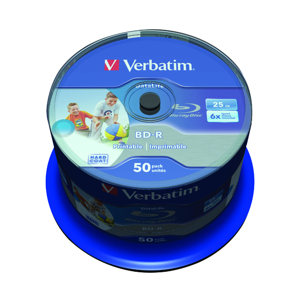 Image for Verbatim BD-R Printable Spindle 6x 25GB (Pack of 50) 43812