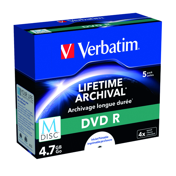 Image for Verbatim M-Disc DVD R 4.7 GB 4x Printable Jewel Case (Pack of 5) 43821