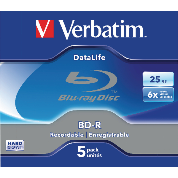 Image for Verbatim BD-R Jewel Case 6x 25GB (Pack of 5) 43836