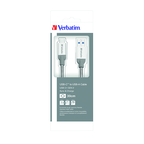 Verbatim USB-C to USB-A Cable Charger 30cm (Transfer speeds of  up to 10GB/s) 48868
