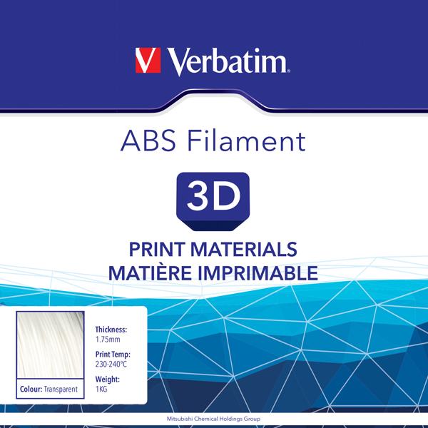 Verbatim ABS 1.75mm 1kg Reel Transparent 55015