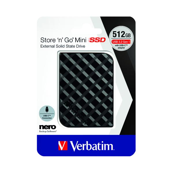 Verbatim Store n Go Mini SSD USB 3.2 512GB Black 53236