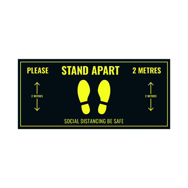 Social Distance Floor Sticker 400x180mm (Pack of 5) Socialstick01Rec