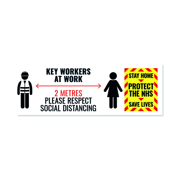 Social Distance Key Worker Sticker 450mm (Pack of 5) Keyworkerstick01