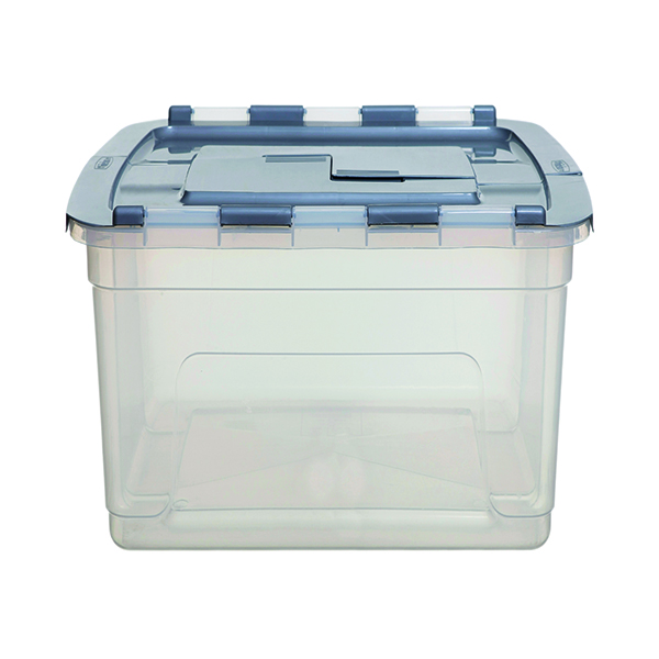 Whitefurze Tote Box 45 Litre Clear with Silver Lid S02031LY