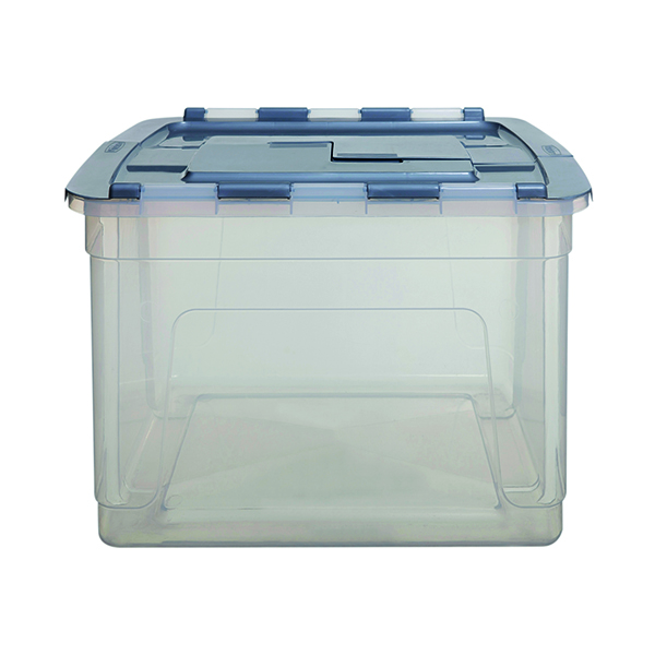 Whitefurze Tote Box 55 Litre Clear with Silver Lid S01041WF