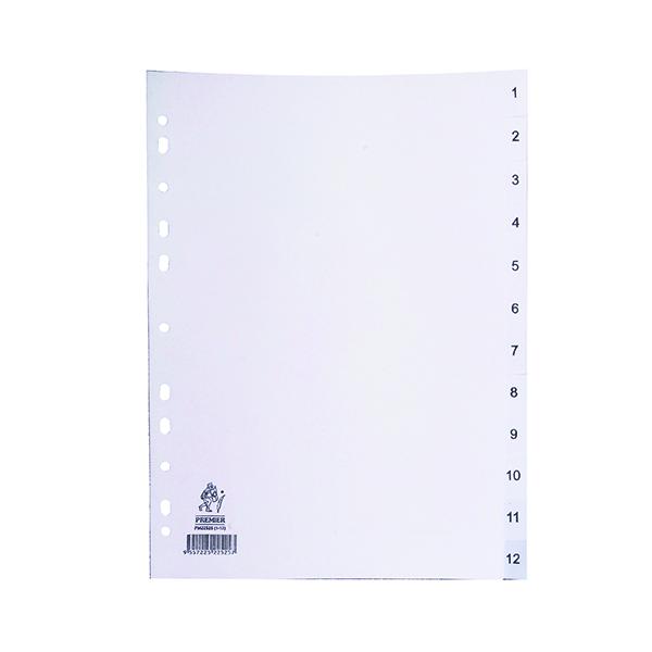 A4 White 1-12 Polypropylene Index