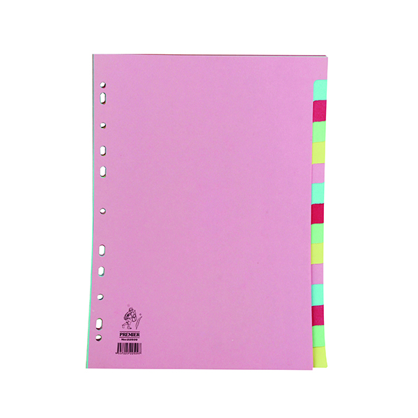 A4 Manilla Divider 15-Part Pink With Multi-Colour Tabs