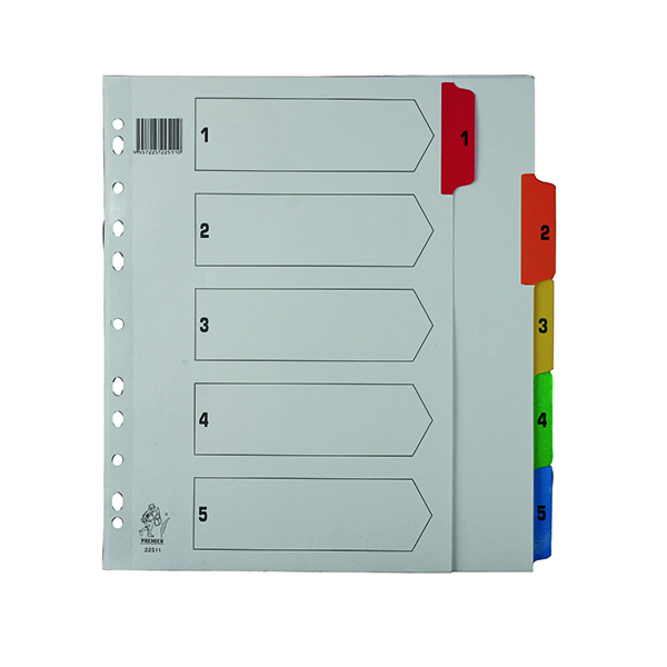 Multicoloured A4 1-5 Mylar Index