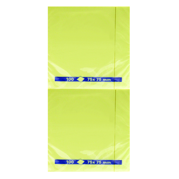 Yellow Repositionable Quick Notes Pad 75 x 75mm (Pack of 12)