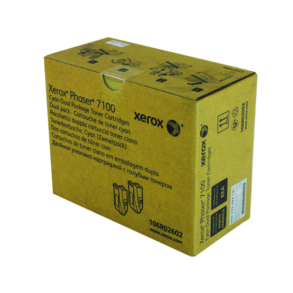 Xerox Phaser 7100 Cyan High Yield Toner Cartridge (Pack of 2)106R02602