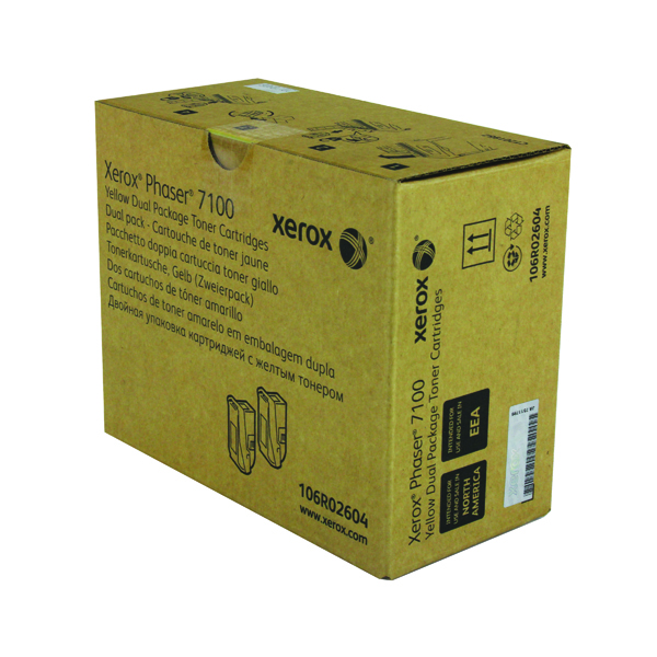 Xerox Phaser 7100 Yellow High Yield Toner (Pack of 2) 106R02604
